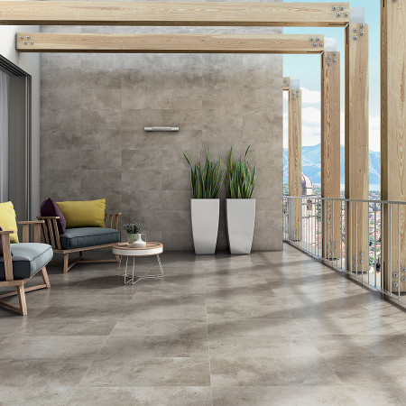 Salon franceschini for Terrasse exterieur carrelage