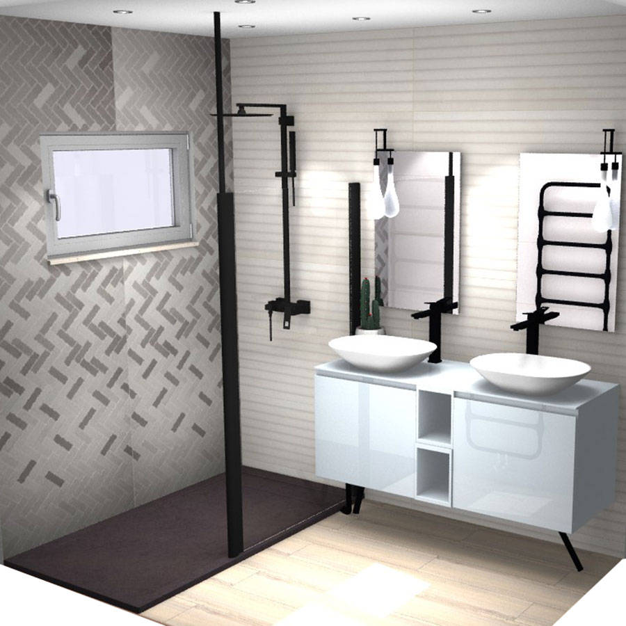 projet de salle de bains en 3d franceschini. Black Bedroom Furniture Sets. Home Design Ideas